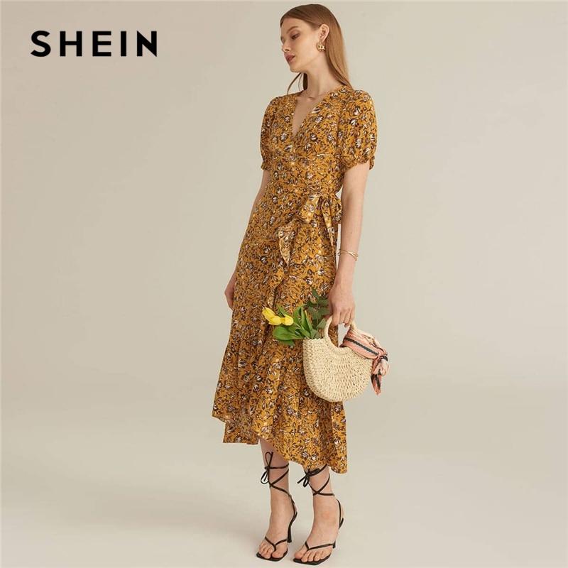 SHEIN-vestido MIDI playero de mujer, vestidos largos playeros amarillos con mangas abullonadas, lazo Floral, volantes laterales y cuello de pico de talle alto