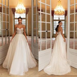 Sequins Tulle Wedding Dresses Sweet Heart A Line Sleeveless Bridal Dress Custom Made Vestidos De Novia
