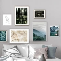 scandinavian poster lake nature forest landscape nordic style living room decoration pictures wall art canvas print painting