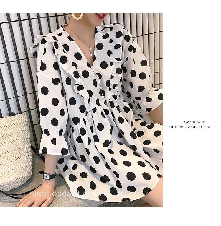 Shirts For Women Long Sleeve Top 2021 New Small Polka Dot Chiffon Dress Super Girl Gentle Fairy Skir