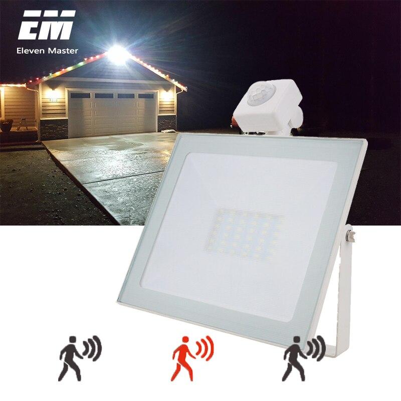 10 w 20 30 50 led luz de inundação com sensor de movimento ac 220 v led projector ip66 à prova dwaterproof água ao ar livre jardim spotlight zfg0008