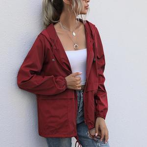 Women Rain Jacket Outdoor Running Hooded Windproof Short Raincoat Long Sleeve Comfortable Waterproof Breathable Hiking Camping
