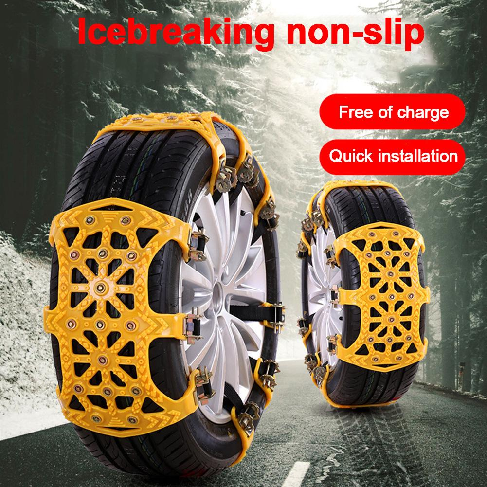 Universal 6pcs/set Car Tire Snow Chains Anti-slip Winter Roadway Safety Tire Chains TPU Thickened Emergency 16.93x14.17in