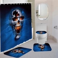 4 pieces curtains terror skull shower curtain animal kids bath sets 3d printing bathroom comfortable and soft shower curtain set