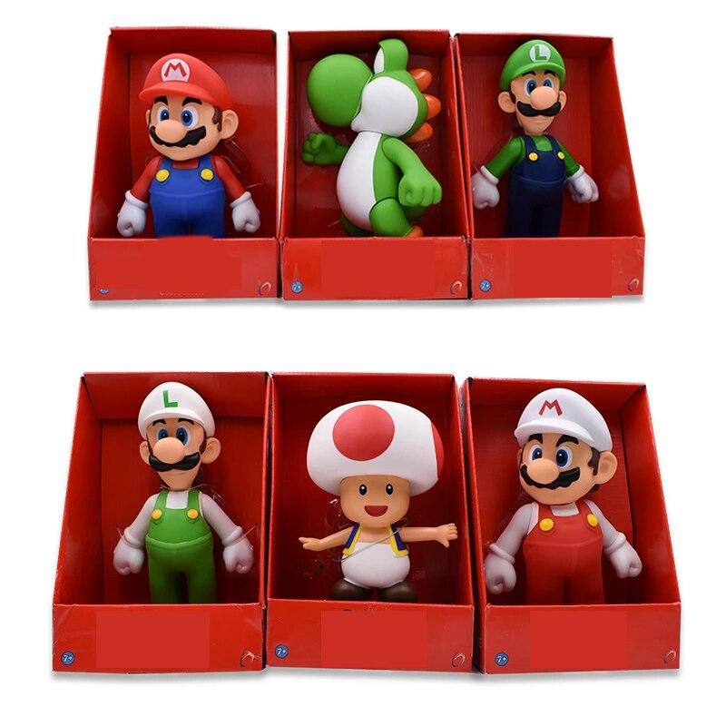 23 CM Mario Bros Figures Yoshi Toad  Princess Mario Luigi Model Action Figure Toys kids Collection Birthday Gifts Doll Toys