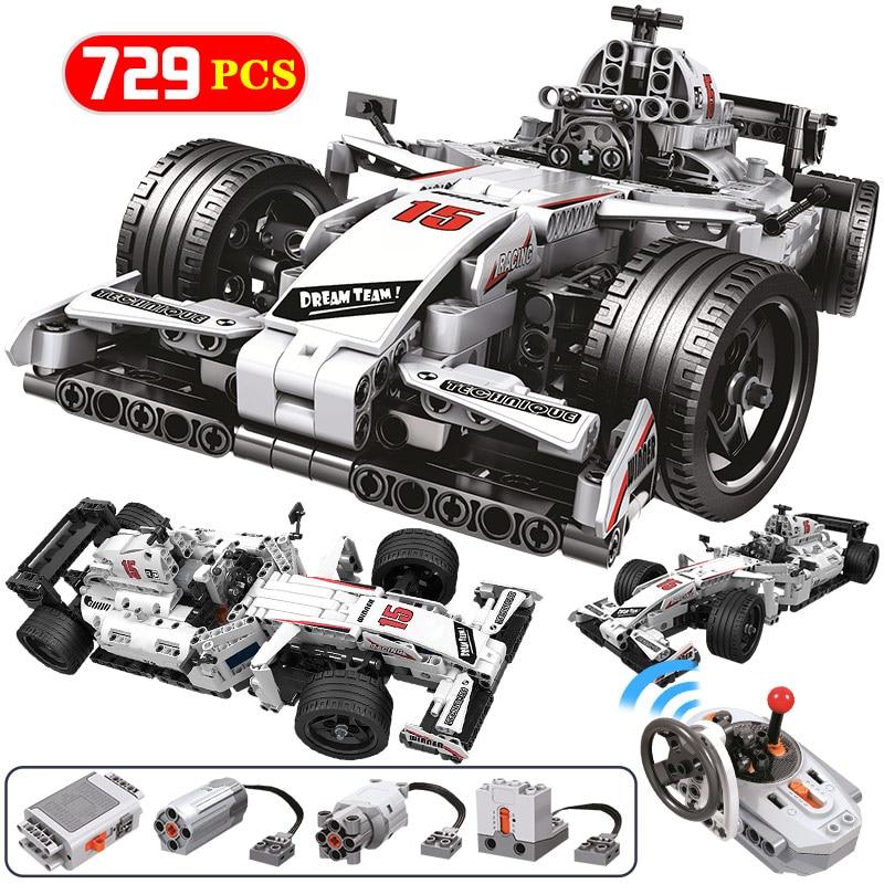 729 шт город дистанционного технологии Модели Строительные блоки для Technic RC F1 гоночный автомобиль кирпичи образовательные игрушки для детей