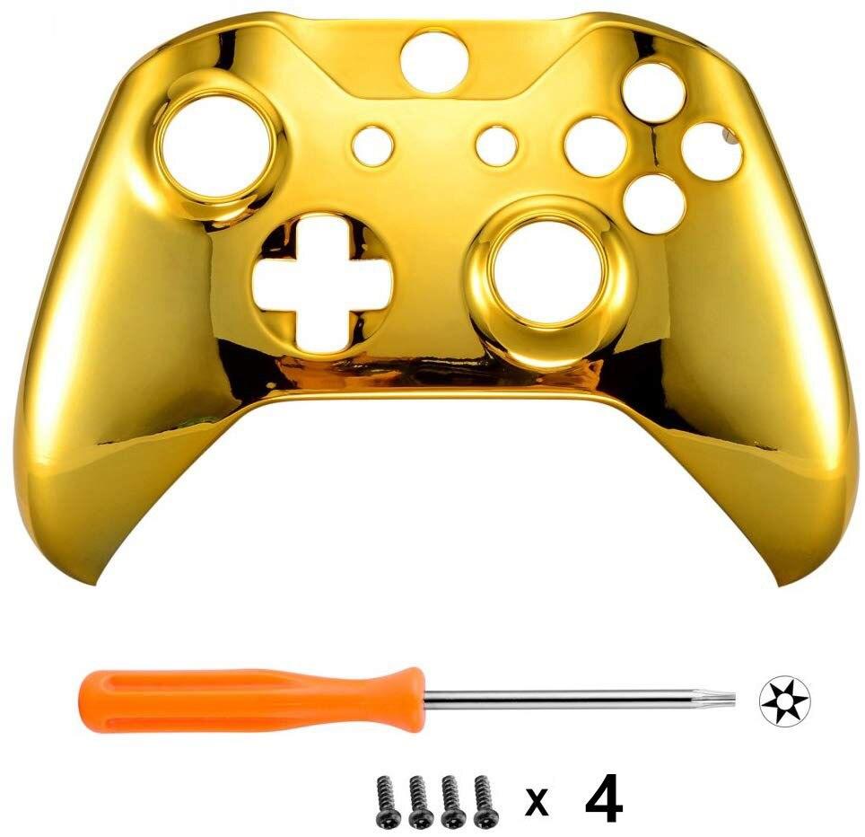 Para Microsoft Xbox One S & Xbox One X Controller Chrome Gold Edition carcasa frontal carcasa cubierta reemplazo placa frontal