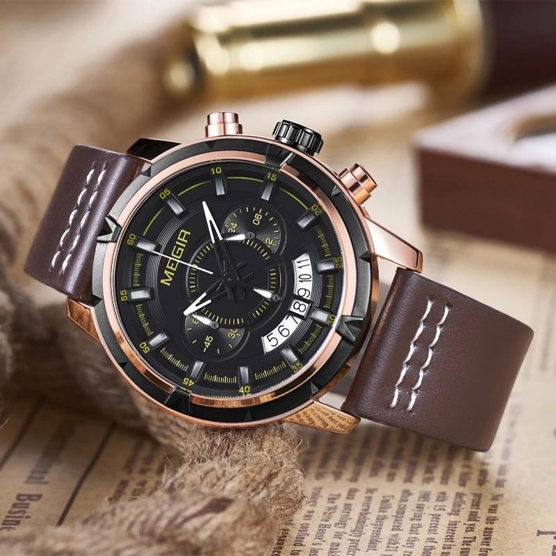 MEGIR ساعة فاخرة العلامة التجارية رجالي ساعات رياضية كوارتز جلدية كرونوغراف ساعة اليد الرجال تاريخ مقاوم للماء العسكرية ساعة رجل relogio
