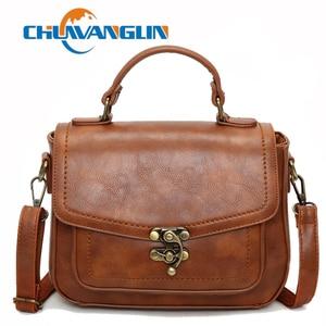Chuwanglin Vintage Lock Women Leather Handbags Messenger Shoulder Bags Ladies Tote Hand Bags Women's Sac A Main Femme G122710