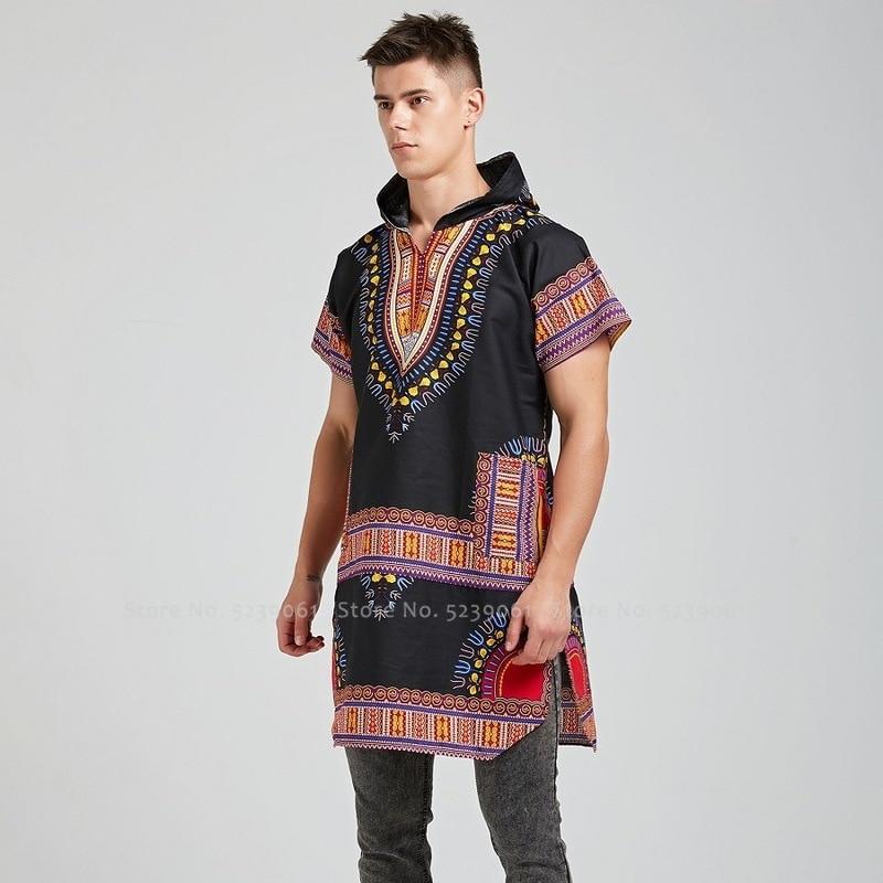 Ropa Estilo bohemio Dashiki para hombre, camiseta estampada con capucha, estilo africano, estilo bohemio, blusa Danshiki, Bazin Riche para hombre, ropa India