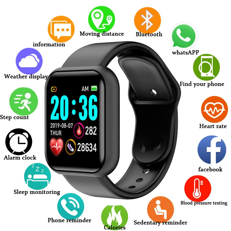 2020 Smart Watch Men women Smartwatch Fitness Tracker IP67 Waterproof Band Heart Rate Monitor Pedometer Wrist
