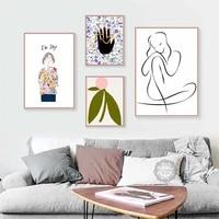 Affiches et imprimes avec croquis lineaire moderne style nordique abstrait  toile dart mural  images pour decoration de maison
