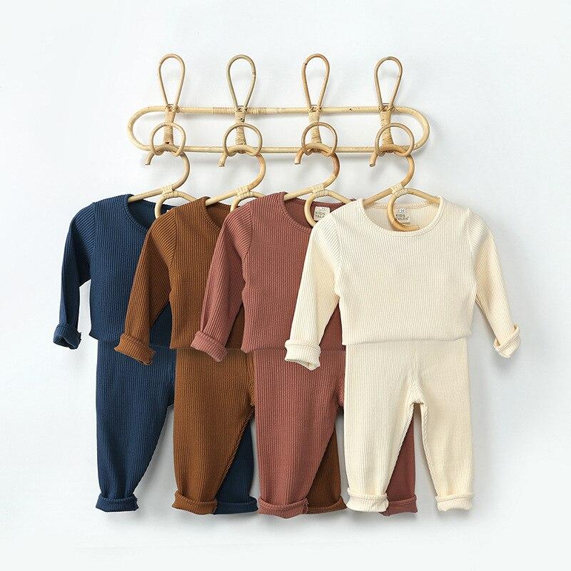 2020 otoño bebé acanalado liso conjuntos de ropa pijama de niño conjunto para niños niña ropa 2 uds 0-4 años ropa para niños