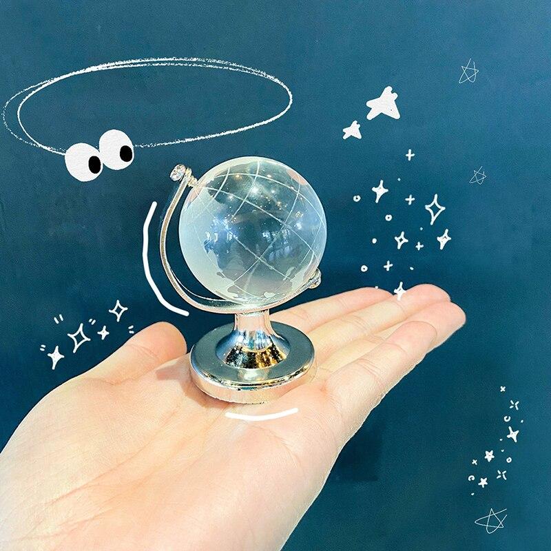 Transparent Silver Stand Crystal World Globe Dollhouse House Desktop Decor Toy
