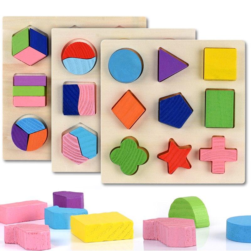 quebra cabecas de formas geometricas de madeira tijolos de matematica aprendizagem