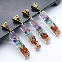 12pcs factory outlet chakra natural stone necklace pendants 4510mm orgone energy healing meditation pendulum jewelry making