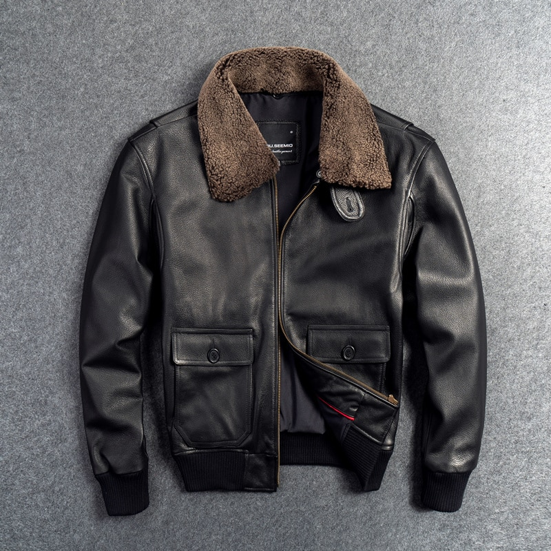 Gu.Seemio Genuine Leather Jacket for Men Male Cowhide Coat Real Animal 100% Skin Outer Wear Fight Suit With Fur Collar