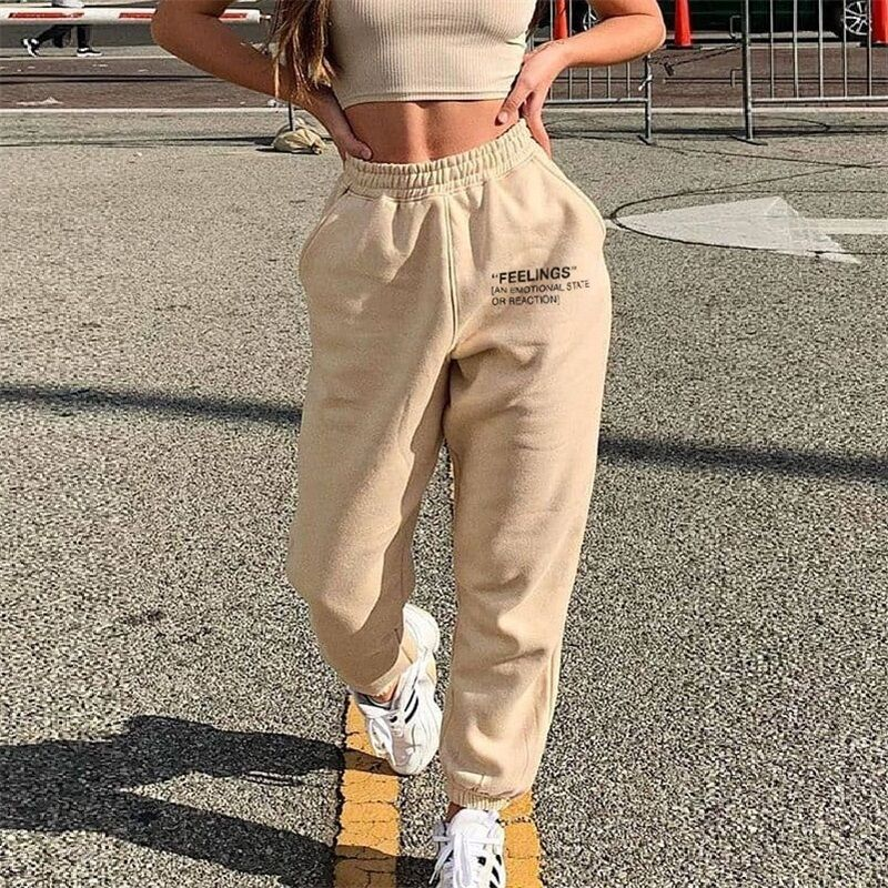 2021 Hot Sale Womens Letter Printted Casual Sweatpants Hight Waist Fashion Ladies Loose Trousers Str
