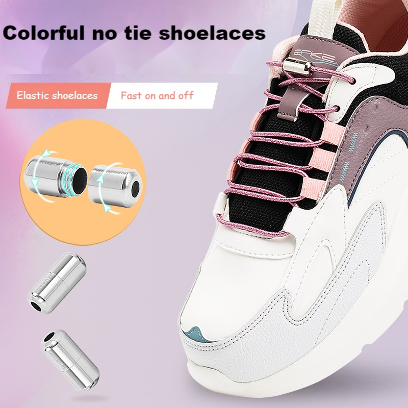 Colorful Elastic Shoe lace without ties Shoelaces for Sneakers Round No Tie Shoe lace Shoes Kids Adult Quick laces Rubber Bands