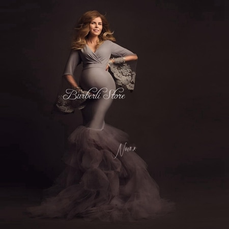 فستان حورية البحر طويل تول مكشكش ، أنيق ، للتصوير الفوتوغرافي ، دانتيل ، أكمام واسعة ، طبقات ، تول ،