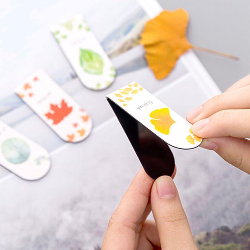 4 unids/set otoño hoja Simple planta magnética marcapáginas libro marcador página Clip Oficina suministros estudiante papelería colección de souvenir