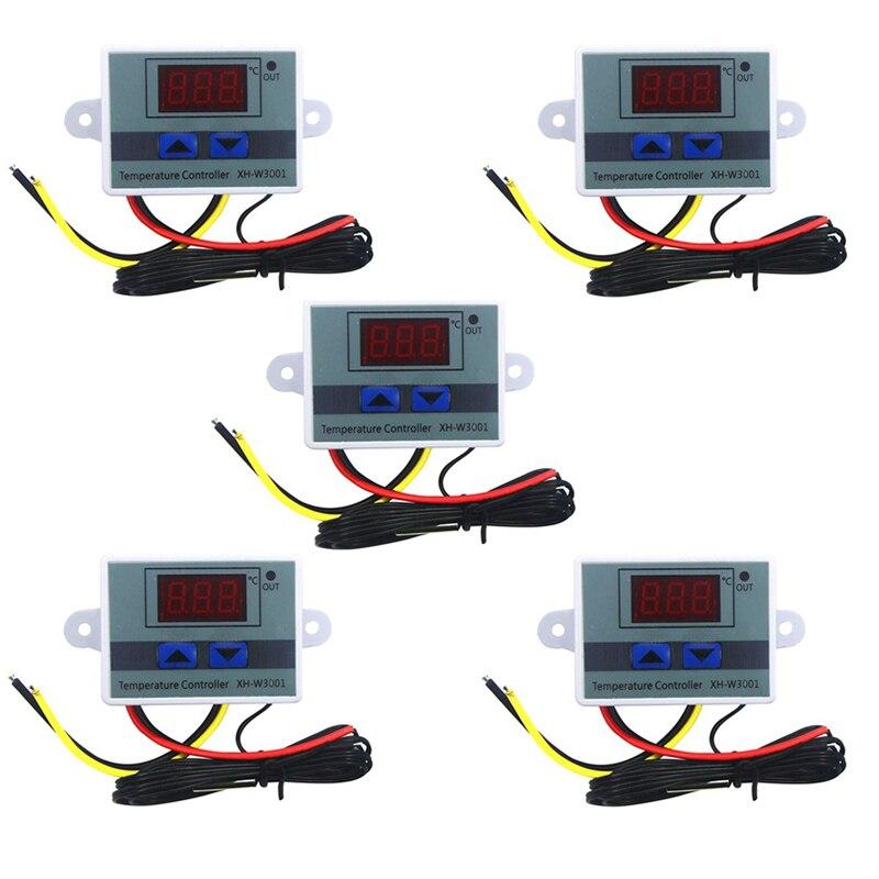 5 قطعة 110-220 فولت التيار المتناوب الرقمية Led متحكم في درجة الحرارة Xh-W3001 ل حاضنة التبريد التدفئة التبديل ترموستات Ntc الاستشعار