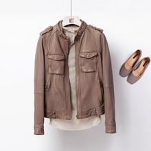 Jacket Women 100% Tanned Sheepskin 8 Colors Leather Coat Zipper Long Sleeves Pockets Jacket Classic Design New Fashion