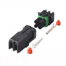 50-100 ensemble 4P 2x2 trou 2.5mm connecteur pour Weatherpack auto camion étanche fil électrique câble façon prise voiture harnais 18-14 GA