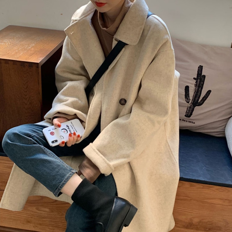 Winter Fashion Women Wool Blends Loose single Breasted Coat 2021 Casual Elegant Cotton Solid Thick F