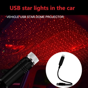 USB Car Interior Atmosphere Star Sky Lamp Ceiling Roof Light Car Ambient Light LED Projector Mini LED Car Roof Star RED Light
