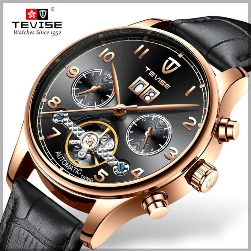 Skeleton Tourbillon Mechanical Watch Men Automatic Classic Rose Gold Leather Mechanical Wrist Watche