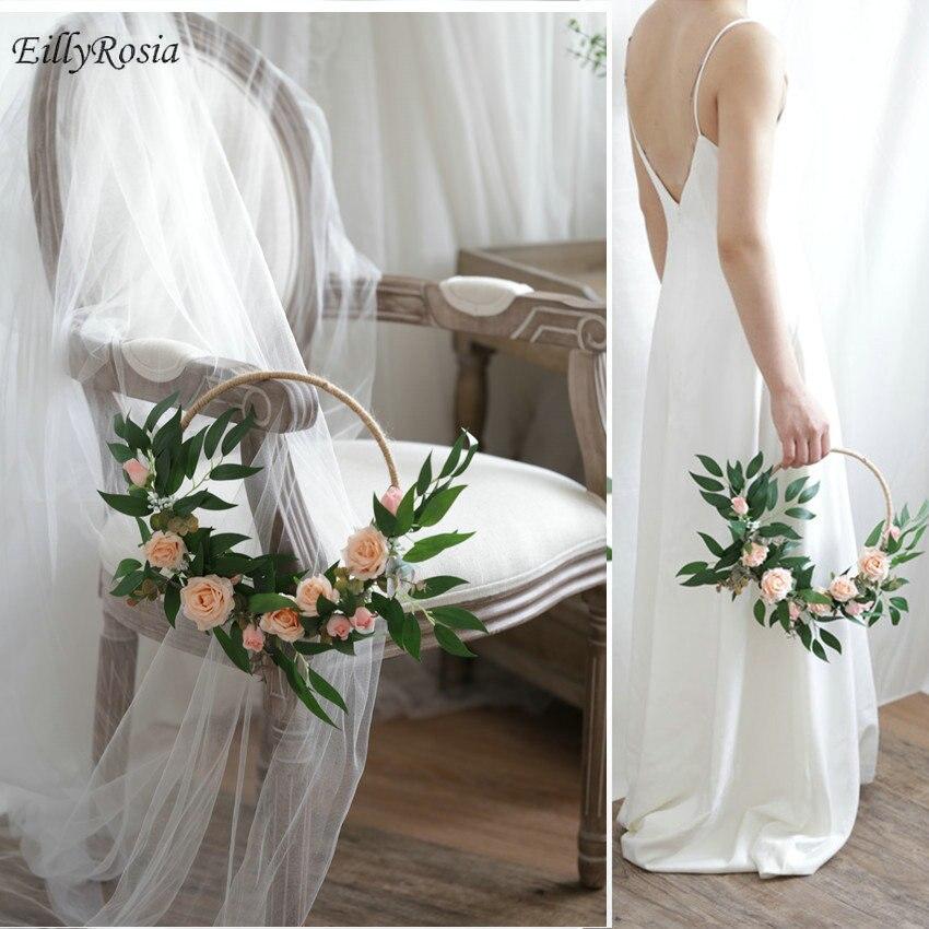 EillyRosia-سلة زهور على الطراز الاسكندنافي ، زينة الزفاف ، وصيفه الشرف ، إكليل الزهور المستدير ، البلاد البرية ، الزفاف