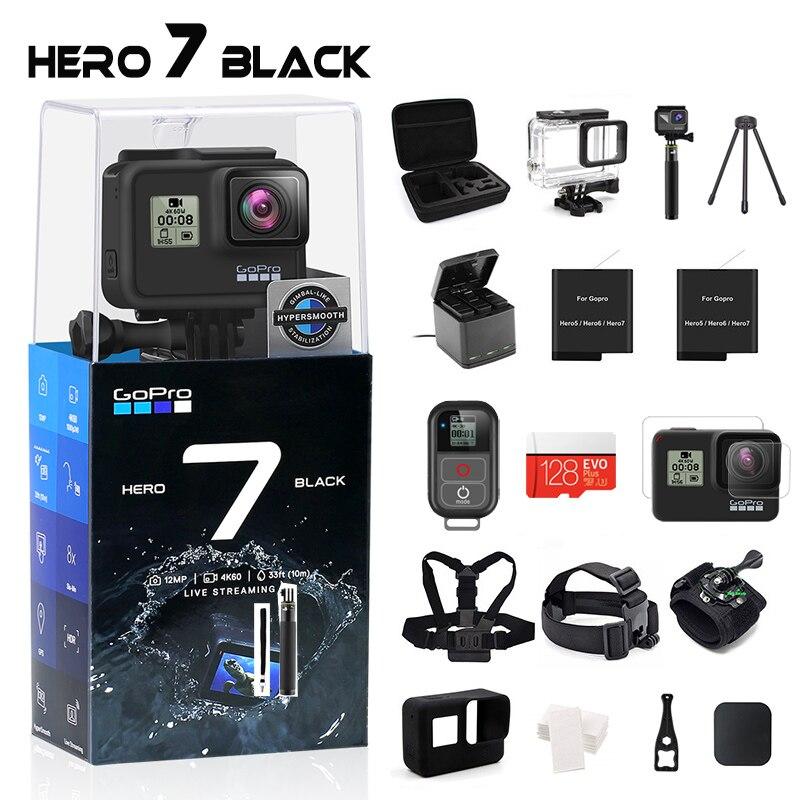 GoPro HERO 7 Cámara de Acción impermeable negra con pantalla táctil Cámara deportiva Go Pro HERO 7 12MP fotos estabilización de transmisión en vivo