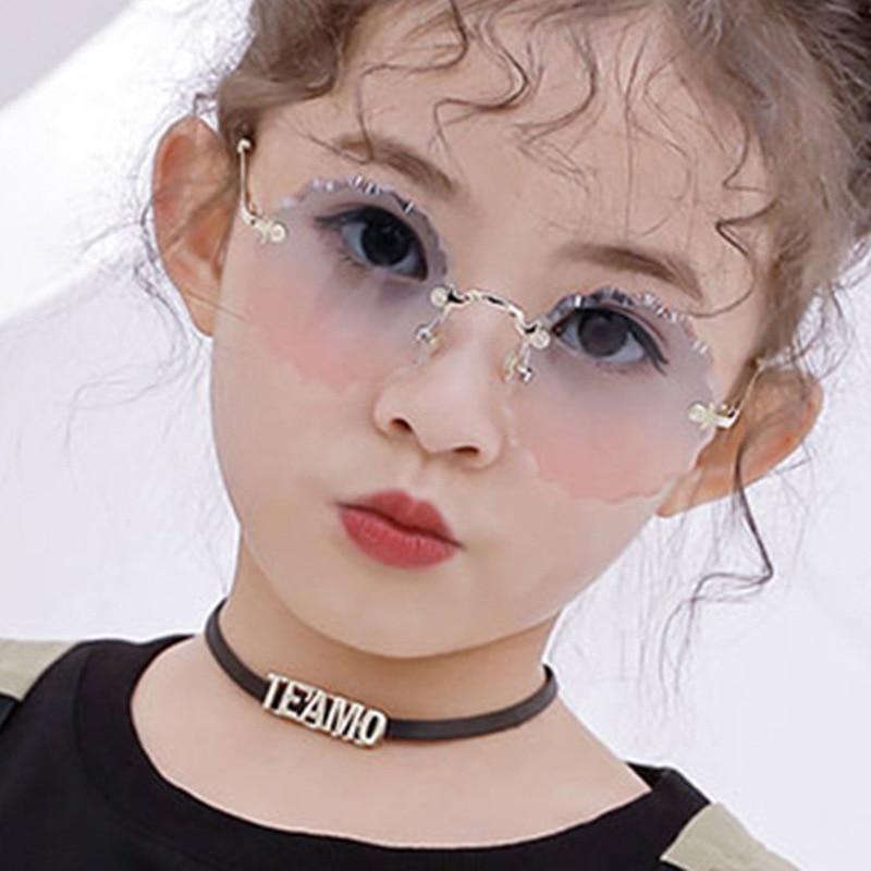 Flower Wave Round Sunglasses For Boys Girls Children Rimless Gradient Mirrors Eyewear Summer Cute Baby Kids Sun Glasses Shades