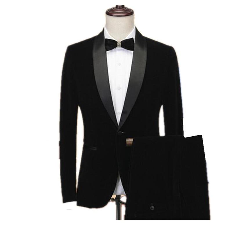 Traje de terciopelo negro para hombre chal solapa trajes Slim Fit 2 piezas (chaqueta + Pantalones) esmoquin para boda novio fiesta graduación