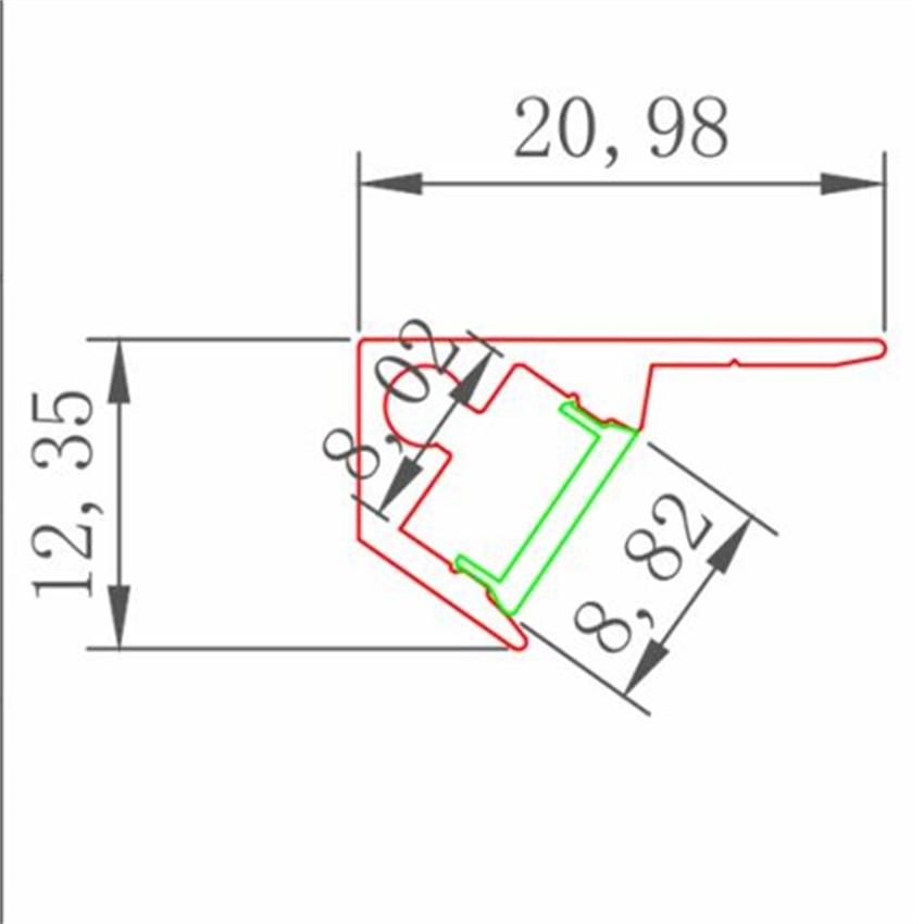 YANGMIN Free Shipping 20-50M/LOT Led Aluminium Profile For Bar Light, 45 Degree Corner Aluminum Channel, 8mm Strip Housing Light enlarge