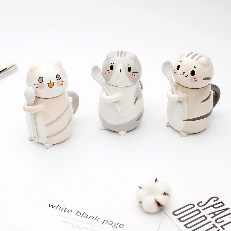 كوب قهوة على شكل قطة رسوم كرتونية من السيراميك مرسومة يدويًا على شكل حيوانات لطيف كوب إفطار حليب مع غطاء وملعقة قدح للشاي أدوات للشرب للأطفال
