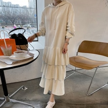 Women Fashion Korean Autumn 2021 Hooded Dress Solid Color Splicing Long Sleeve Casual Ruffle Loose P