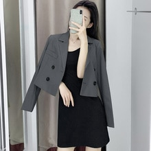 Long Sleeve Suit Women's 2021 Autumn Western Style Ultra Short Suit Korean Style Elegant Small Coat