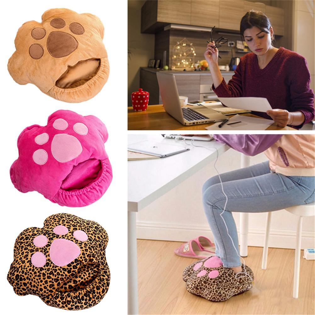 Usb rechageable aquecido sapatos de algodão sapatos quentes confortáveis chinelos de aquecimento de pelúcia para o inverno frio