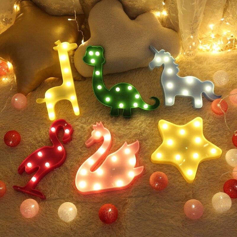 Светодиодная Подвесная лампа в виде фламинго, единорога, ананаса, кактуса, звезды, декоративный светильник, 30 см, детские ночные светильники