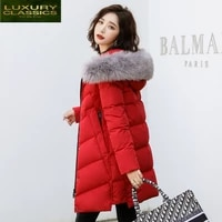 women winter down jacket long down coat female large fur hooded fashion clothes ultra light duck down jacket hiver 190159