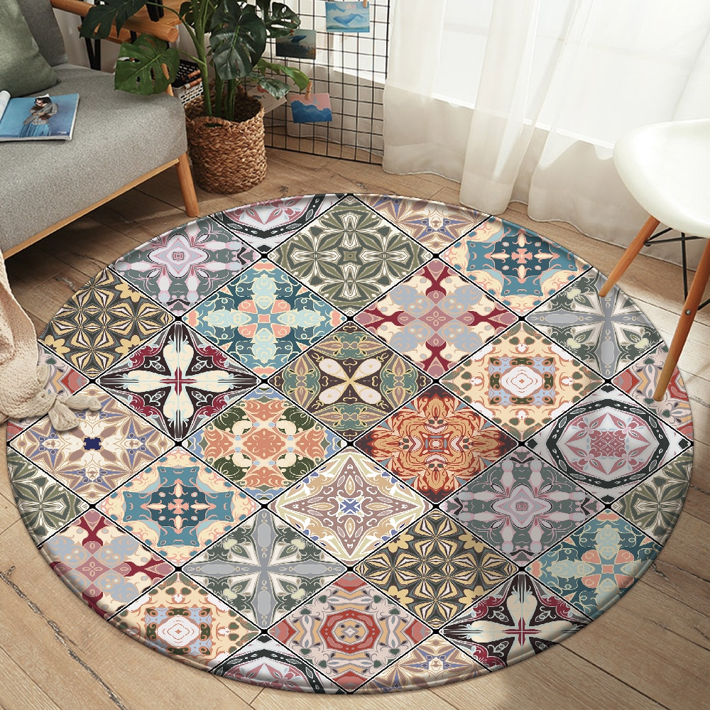 Alfombra-Alfombra antideslizante de estilo Mandala, tapete colorido con patrón Floral, para suelo, baño, sala de estar, habitación, salón, decoración de dormitorio