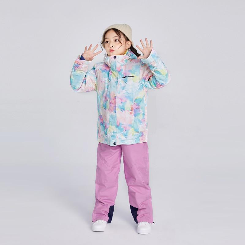 Hooded Winter Suit for Girls Warm Snow Clothes Children Jackets Overall Ski Set Kids Waterproof Snowboard Sport Wear