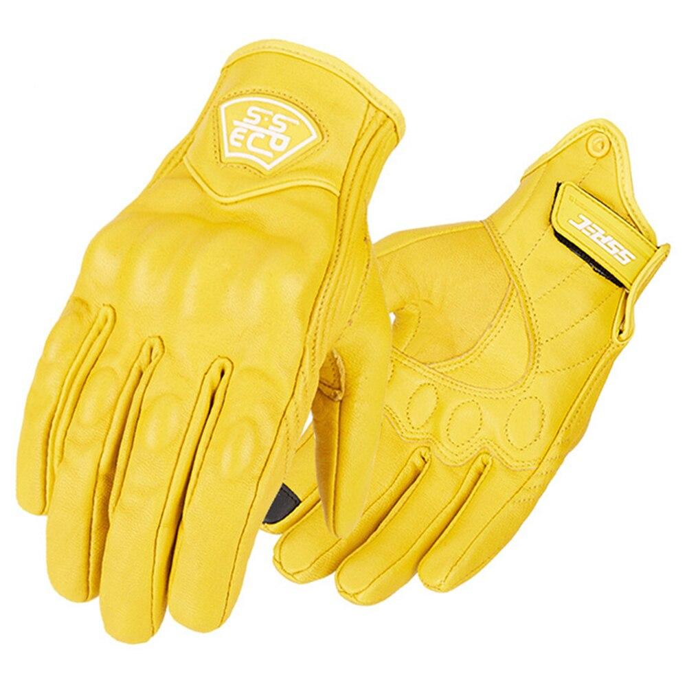 Guantes amarillos para motocicleta de cuero auténtico Retro con dedos completos, guantes de Moto Vintage para motociclista, guantes para Motocross con pantalla táctil para hombre