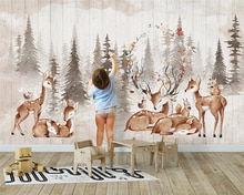 Papel tapiz beibehang, papel tapiz personalizado moderno, minimalista, de moda, bosque, retro, alce, fondo para niños, papel de pared, papel tapiz 3d