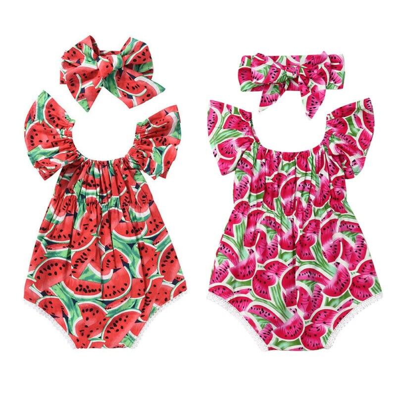 2PCS Verão Melancia Menina Bonito do Verão Do Bebê Recém-nascido Bodysuit Macacão Outfit