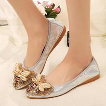 Femmes chaussures plates ballerine mocassins de mariage cristal dame sans lacet mocassins bout pointu peu profond unique chaussures grande taille 43 44 45