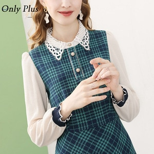 Itoolin Winter Green Plaid Dress Knitted Long Sleeve Splic Lace O-Neck Women Party Warm Dresses Woolen Elegant Slim
