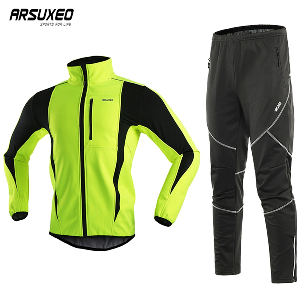 ARSUXEO Mens Winter Cycling Jacket Set Windproof Waterproof Thermal Sportswear Bicycle Pants Trousers Bike Clothing Suits 15kk